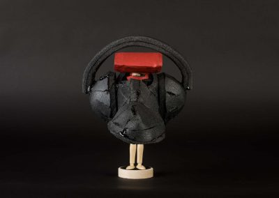 Yuka Oyama, SurvivaBall Home Suits—Red (2020) Marquette: 23 x 27 x 29 cm. PE sponge, wood, acrylic paint. Photograph: Thomas Kierok