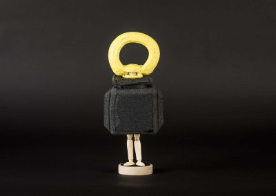 Yuka Oyama, SurvivaBall Home Suits—Yellow (2020) Marquette: 12 x 8,5 x 27 cm. PE sponge, wood, acrylic paint. Photograph: Thomas Kierok