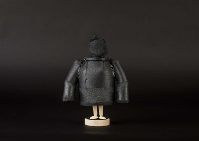 Yuka Oyama, SurvivaBall Home Suits—Black (2020) Marquette: 19 x 7 x 24 cm. PE sponge, wood, acrylic paint. Photograph: Thomas Kierok