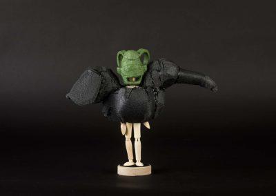 Yuka Oyama, SurvivaBall Home Suits—Green (2020) Marquette: 30 x 13 x 24 cm. PE sponge, wood, acrylic paint. Photograph: Thomas Kierok