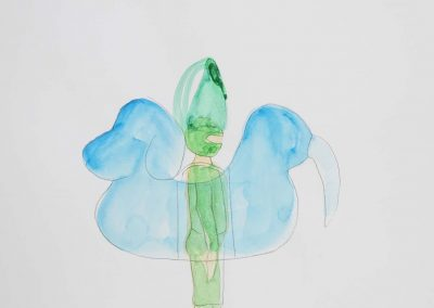 Yuka Oyama, Sketch for SurvivaBall Home Suits—Green (2020), water colour on paper, 21 x 29,7 cm. Photograph: Thomas Kierok