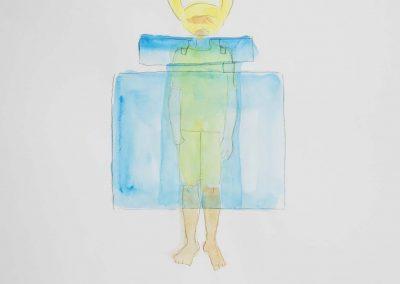 Yuka Oyama, Sketch for SurvivaBall Home Suits—Yellow (2020), water colour on paper, 21 x 29,7 cm. Photograph: Thomas Kierok
