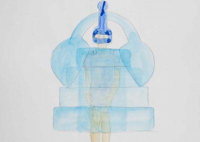 Yuka Oyama, Sketch for SurvivaBall Home Suits—White (2020), water colour on paper, 21 x 29,7 cm. Photograph: Thomas Kierok